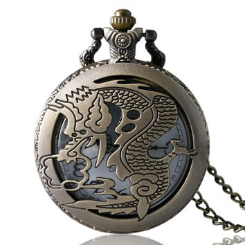 Vintage Dragon Pocket Watch Vintage Game of Thrones Dragon Pendant Necklace Best Gift