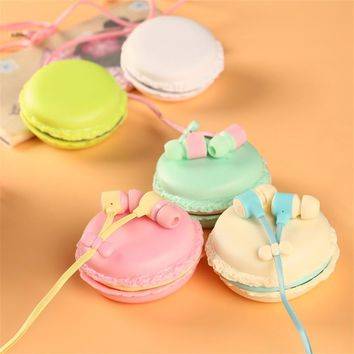 2017 Macarons Design Candy Color Cute in-ear Earphones Girls for MP3 Player MP4 Mobile Phone With Headset Box Birthday Gift PE01
