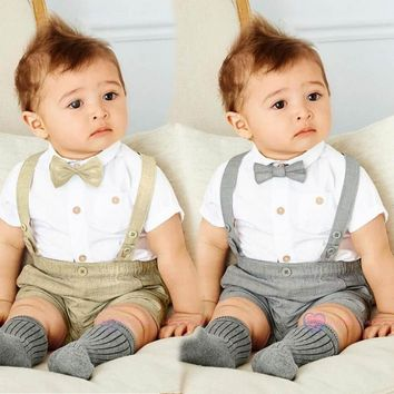 3 Piece T-Shirt+Overalls+Bow Tie Set