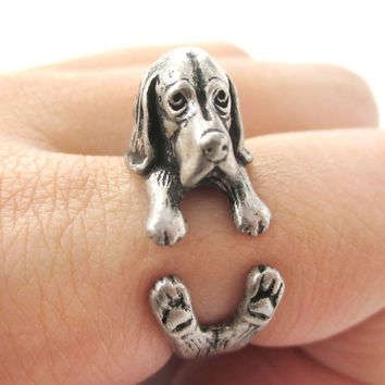 Realistic Basset Hound Shaped Animal Wrap Ring in Silver | Sizes 4 to 8.5