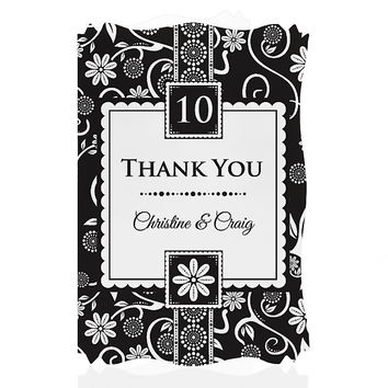 Modern Floral Black & White - Any Year - Personalized Wedding Anniversary Thank You Cards