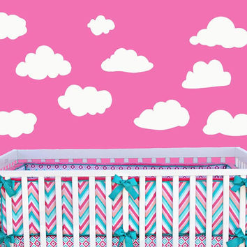 Clouds Wall Decal | Set Of 10 Clouds | Childrens Nursery Decal