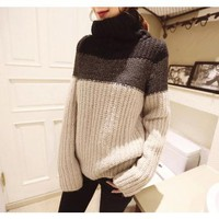 Amtify Womens Striped Turtle Neck Sweater