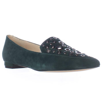 Nine West Akeelah Washer Studded Pointed Toe Loafer Flats - Dark Green
