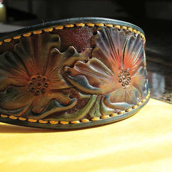 Hound collar, leather dog collar, Colorful dog collar , Whippet collar, Greyhound collar ,large dog collar