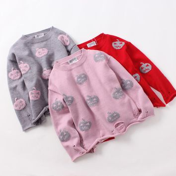 Halloween Day Spring Autumn Baby Girls Pumpkin Clothes Children Fashion O-Neck Sweater Knitted Pullover Kids Clothing 5pcs/lot