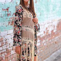 Suede to the Fringe Vest {Taupe}