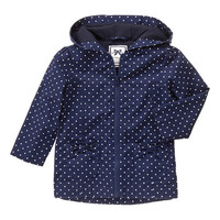 Navy Dot Bow-Accent Zip-Up Hooded Jacket - Infant & Toddler