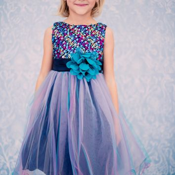 Girls Teal Sequin Party Dress w. Tri-Color Tulle 2-14 & 16x-20x