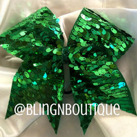 Shamrock - Kelly Green Sequin Cheer Bow