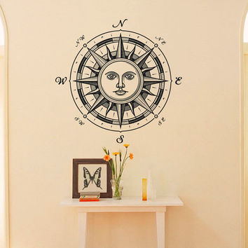 Wall Decal Nautical Compass Rose Ethnic Sun Symbol Wall Decor- Compass Rose Wall Decal For Living Room Bedroom Office C043