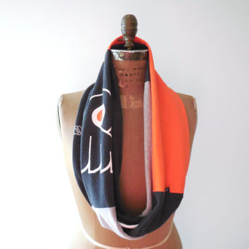 Philadelphia Flyers T Shirt Infinity Scarf / Orange Black Gray / NHL Hockey / Handmade / Cotton / Soft / For Her / Winter / ohzie