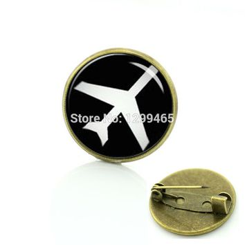 Plane keepsake pins art picture creative badge Vintage aircraft silhouette brooches men and women hipster accessories T770
