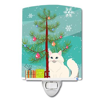 Turkish Angora Cat Merry Christmas Tree Ceramic Night Light BB4413CNL