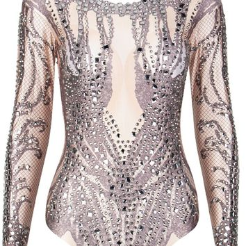 Stand In Line Nude Diamond Geometric Pattern Long Sleeve Round Neck Beaded Stud Bodysuit Top