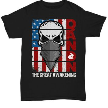QAnon Black T-shirt Skull Patriot Flag White Rabbit Q Anonymous Trump Politics LARP Patriotic Gift Tee