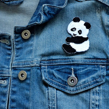 CUTE PANDA Girl Boy Sew or Iron on Patch Badge Transfer Pin Kids Children Cartoon Applique Craft Rockabilly Motif