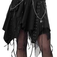 Black Punk Gothic Witchy Skirt with Ribbons & Chains