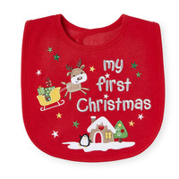 "Koala Baby Neutral Red ""My First Christmas"" Bib"