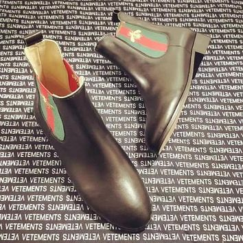 GUCCI Autumn And Winter High Quality Fashion New Bee Stripe Leather Shoes Boots Women Black