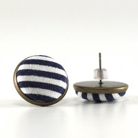Sailor Stud Earrings - Fresh Blue and White Stripes Earring Studs - Dark Navy Blue Fabric Buttons Jewelry - Antique Posts