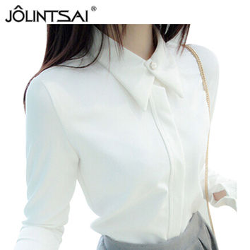 Korean New White Shirt Chiffon Blusas Femininas Women White Black Blouses Elegant Woman Clothes