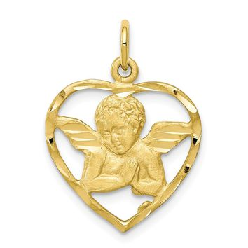 10k Yellow Gold Angel Heart Charm - Religious Jewelry