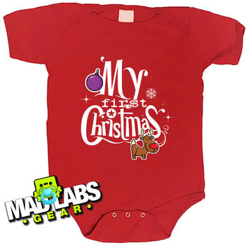 My First Christmas Baby's first Christmas Rudolph cute funny baby one piece non-toxic, water-based inks jumper Bodysuit Creeper Dirty B-13