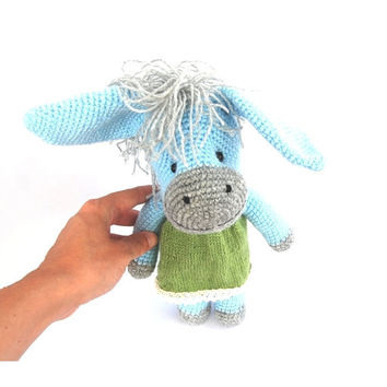 crocheted donkey ass amigurumi toy foal jack jennet stuffed domesticated animal, aqua blue, gift for children, soft animal doll