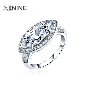 AENINE Fashion Jewelry Ring Single Clear Cubic Zirconia Round Pave Small Crystal Delicate Wedding Rings For Women Anillos Mujer