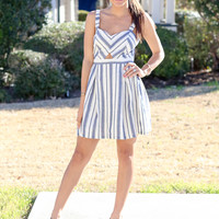 Deep in the Heart Dress - Blue and Cream