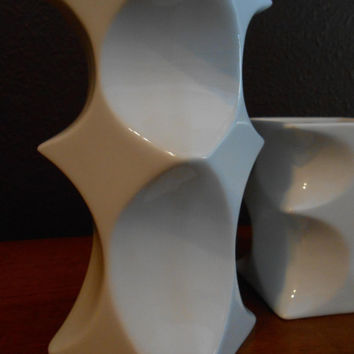 Danish Modern Candle Holders 2 by Gerda Gruber Spurey for Lilien Porzellan Atelier Mid Century