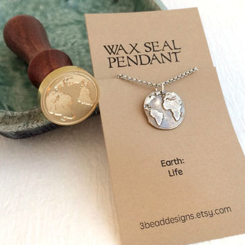 Earth Wax Seal Necklace, pure silver world planet globe travel stamped charm pendant pmc rustic antique birthday Christmas gift gifts