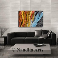 """Acrylic abstract wall art canvas modern 36"""" Original large painting Beautiful Hand Made Home Decor Gift for Anniversary by Nandita Albright"""