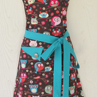 Cute Owl Apron, Owls, Retro Style Full Apron, KitschNStyle