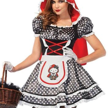 MDIGH3W Hello Kitty Red Riding Hood,dress w/ear hood and matching bow in MULTICOLOR