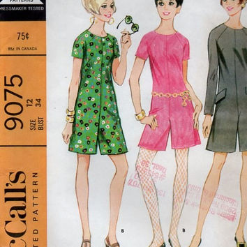 60s Retro Mod McCall's 9075 Sewing Pattern One Piece Jumper Short Pantsuit Culottes Gaucho Pantdress Bust 34