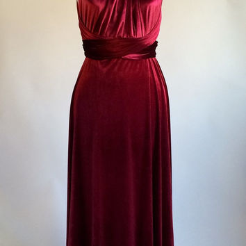 Infinity dress, bridesmaid dress, prom dress, red velvet dress, ball gown, long dress, evening dress, convertible dress, party dress