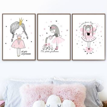 Little Princess Fairy Nordic Poster And Prints Wall Art Canvas Painting Wall Pictures For Kids Bedroom Baby Girl Room Home Decor