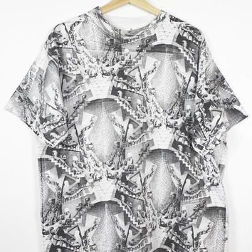 vintage MC ESCHER art all over print shirt