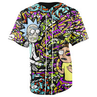 Trippy Rick and Morty Purple Button Up Baseball Jersey