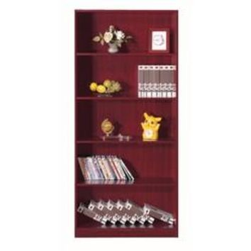 Elegant Bookcase with 5 Open Shelves, Cherry Brown