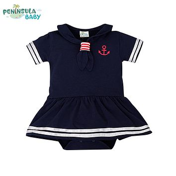 Baby Rompers Hot Sale Casual Newborn Navy Style Clothing Baby Boy Girl Romper Summer Short-Sleeve Sailor Clothes