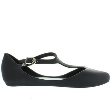ONETOW Makers Mint 1 - Black T-Strap Low Wedge Jelly