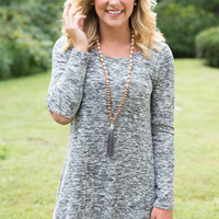 Heathered Elbow Patch Dress - Grey - FINAL SALE