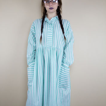 Minty Stripes Vintage Dress