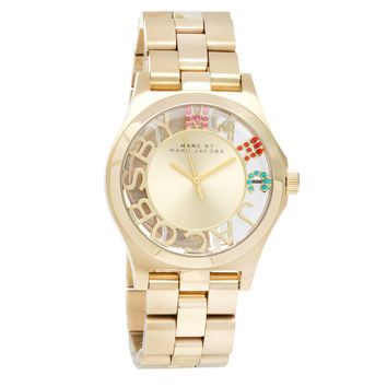 Marc Jacobs Women's MBM3263 'Henry' Goldtone Skeleton Stainless Steel Watch