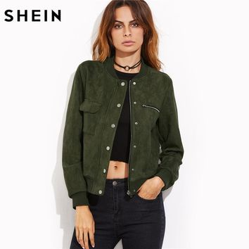 SHEIN Olive Green Suede Hidden Zip Bomber Jacket Fall Winter 2017 Women's Jackets and Coats Stand Collar Single Breasted Jacket