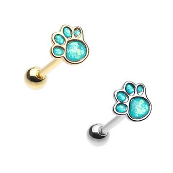 Golden & Silver Animal Lover Paw Print Opal Barbell Tongue Ring