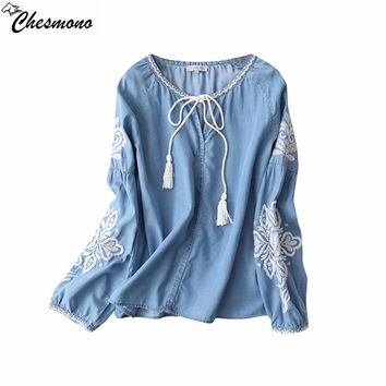 chesmono 2017 Women Vintage Blue Tencel Denim Blouses Ruffles O Neck tie Long Sleeve Loose Shirt Embrodiery floral Blouse Femme